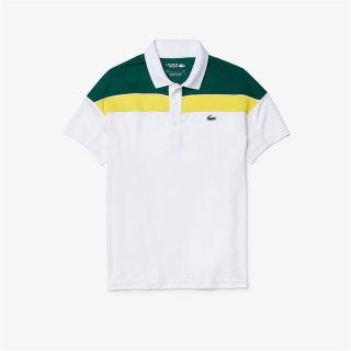 Lacoste Short Sleeved Ribbed Collar Shirt | Herren | white swing yellow |
