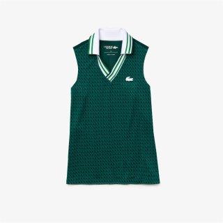 Lacoste Short Sleeved Ribbed Collar Shirt | Damen | white green |