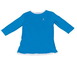 Tilly Shirt | 3/4 Arm | Mädchen | türkis/weiß |